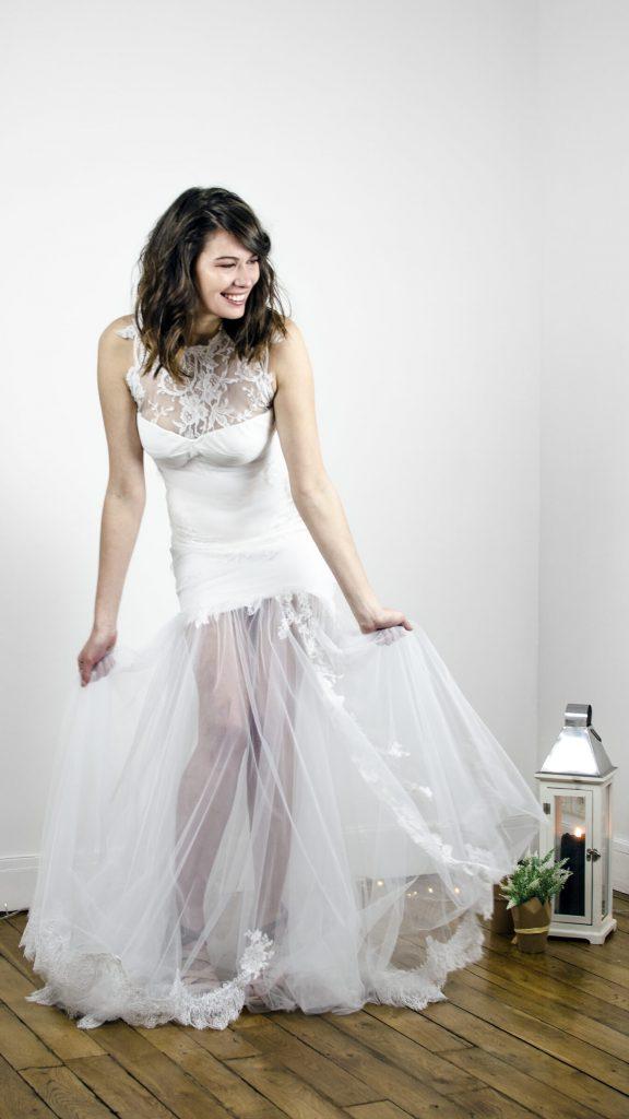 Robe de mariée, robe sirène, dentelle, transparent, voile