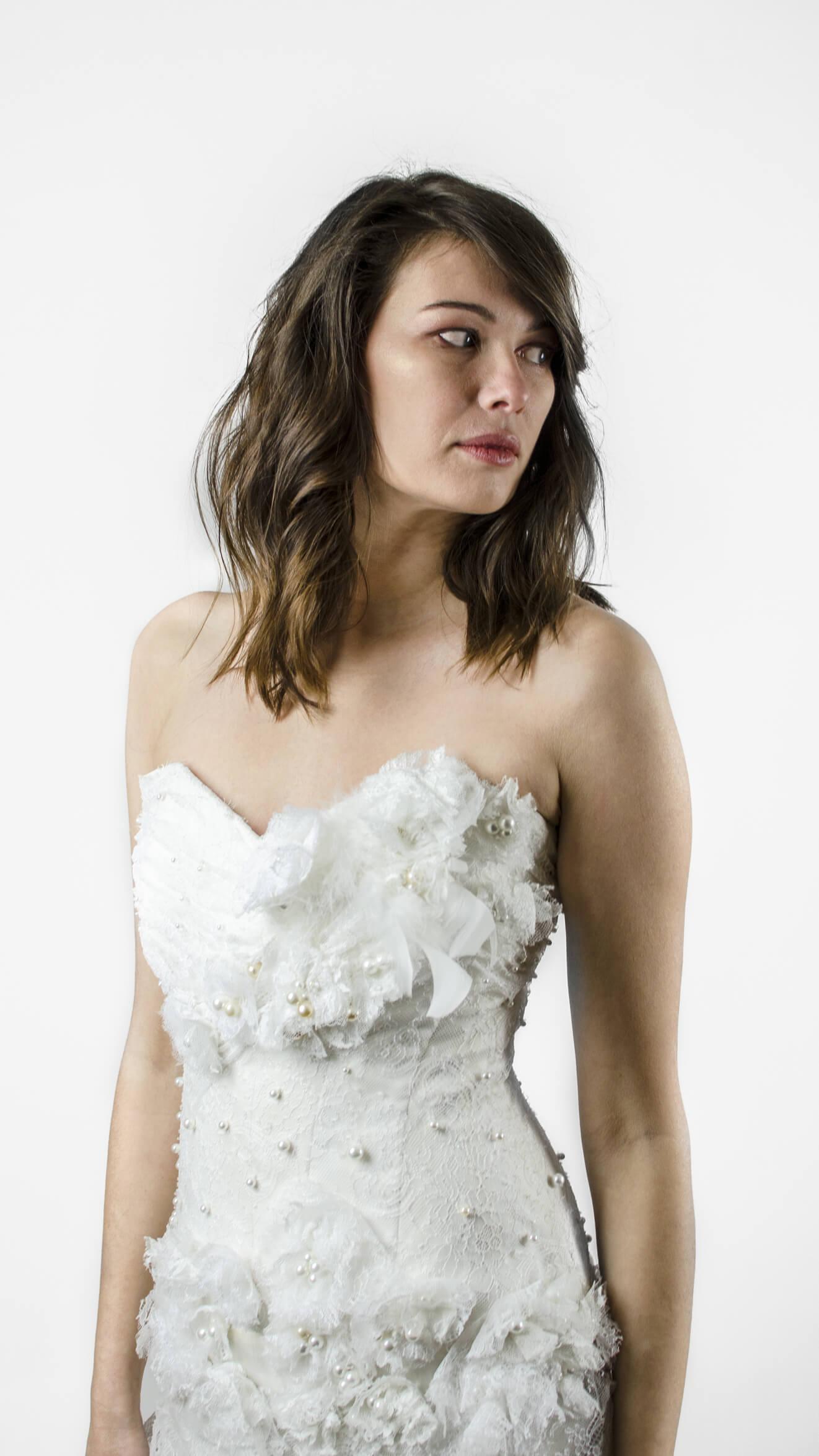 Robe de mariée bustier et corsage