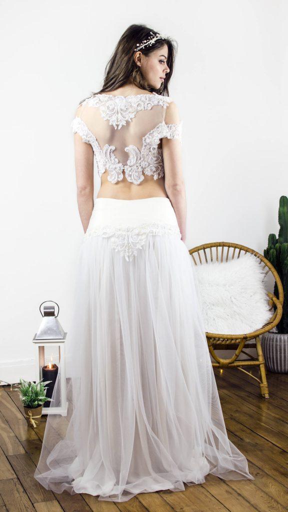 robe de mariée robe bohême, croptop, fluide, broderie, originale
