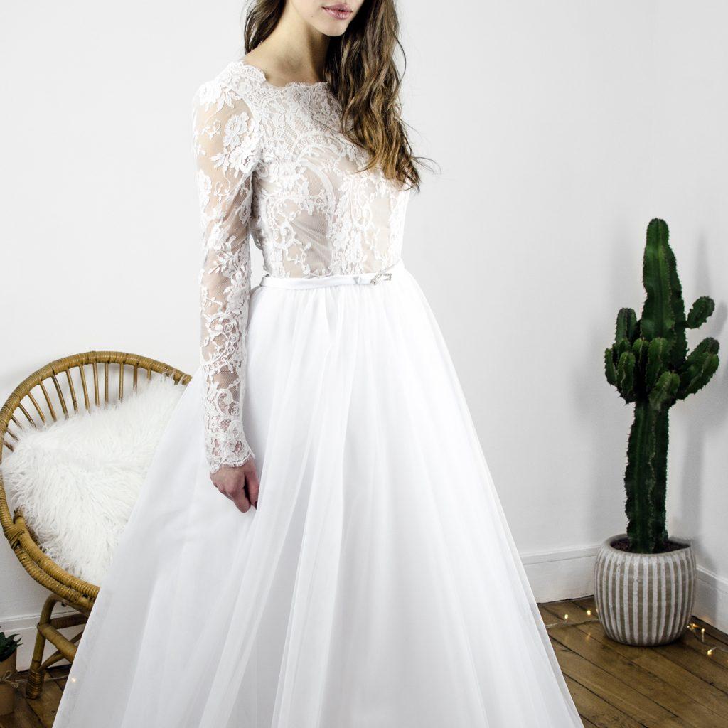 robe de mariée princesse, tulle, volume, dentelle
