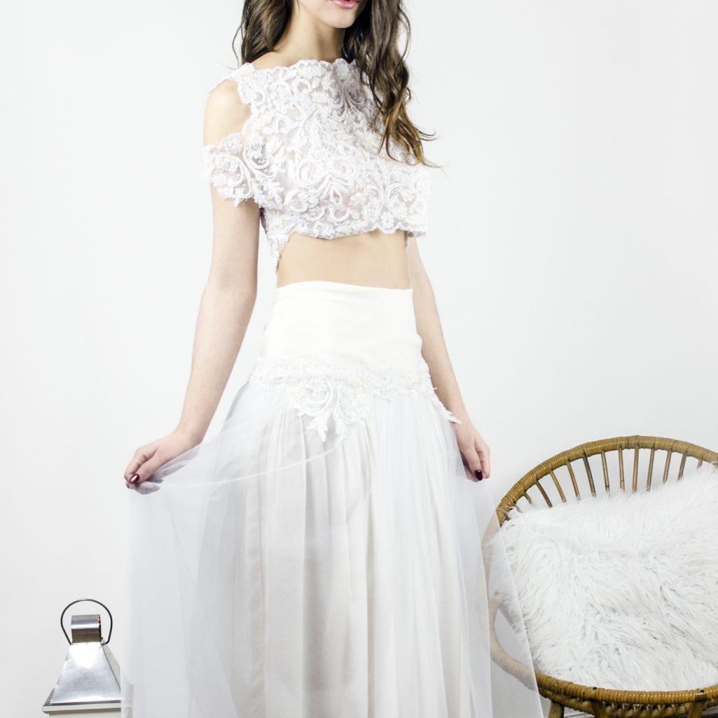robe de mariée, croptop, fluide, broderie